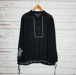 Lane Bryant 1X  sheer embroidered blouse